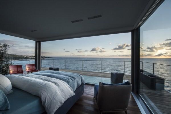 modern bedroom with ocean view Sprawling Modern Oceanfront Oasis In Lebanon