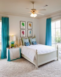 Turquoise And White Bedroom Curtains