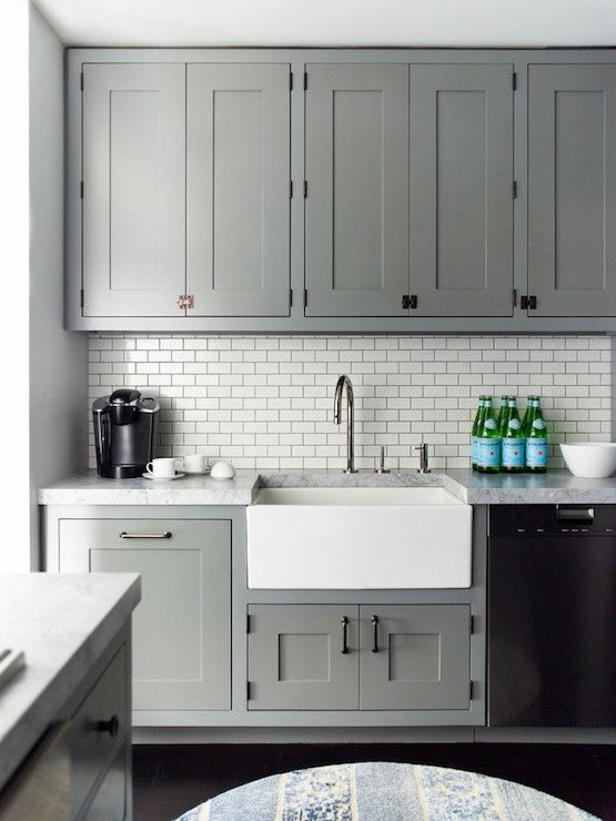 grey kitchen cabinets moen faucet warranty 20 stylish ways to work with gray the dark grout on tiled backsplash complements
