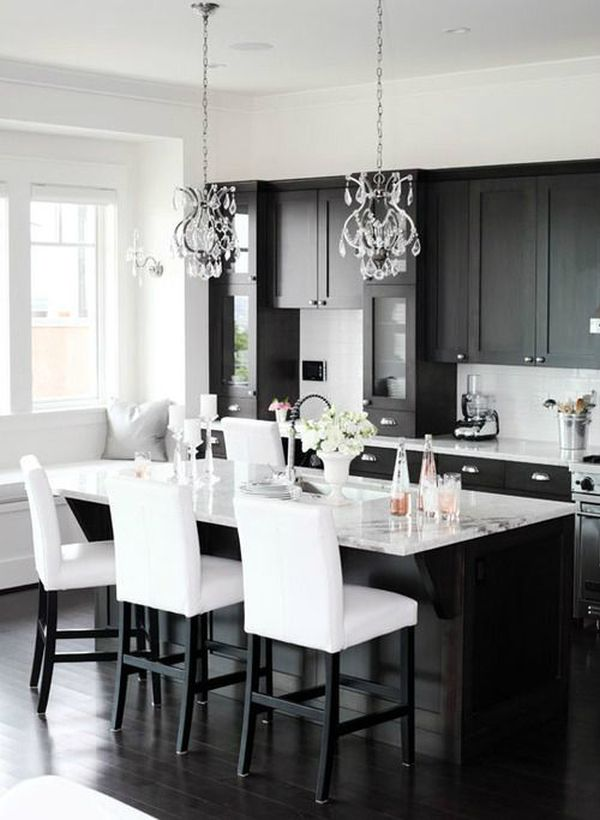 kitchen black cabinets marble top island one color fits most classic and white