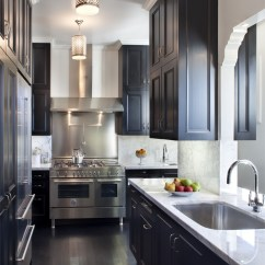 Kitchen Black Cabinets Columns One Color Fits Most Galley