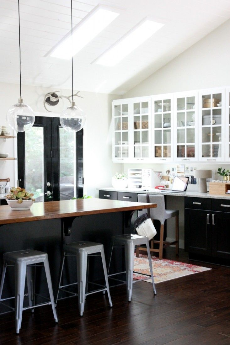 kitchen black cabinets rugs ikea one color fits most with glass