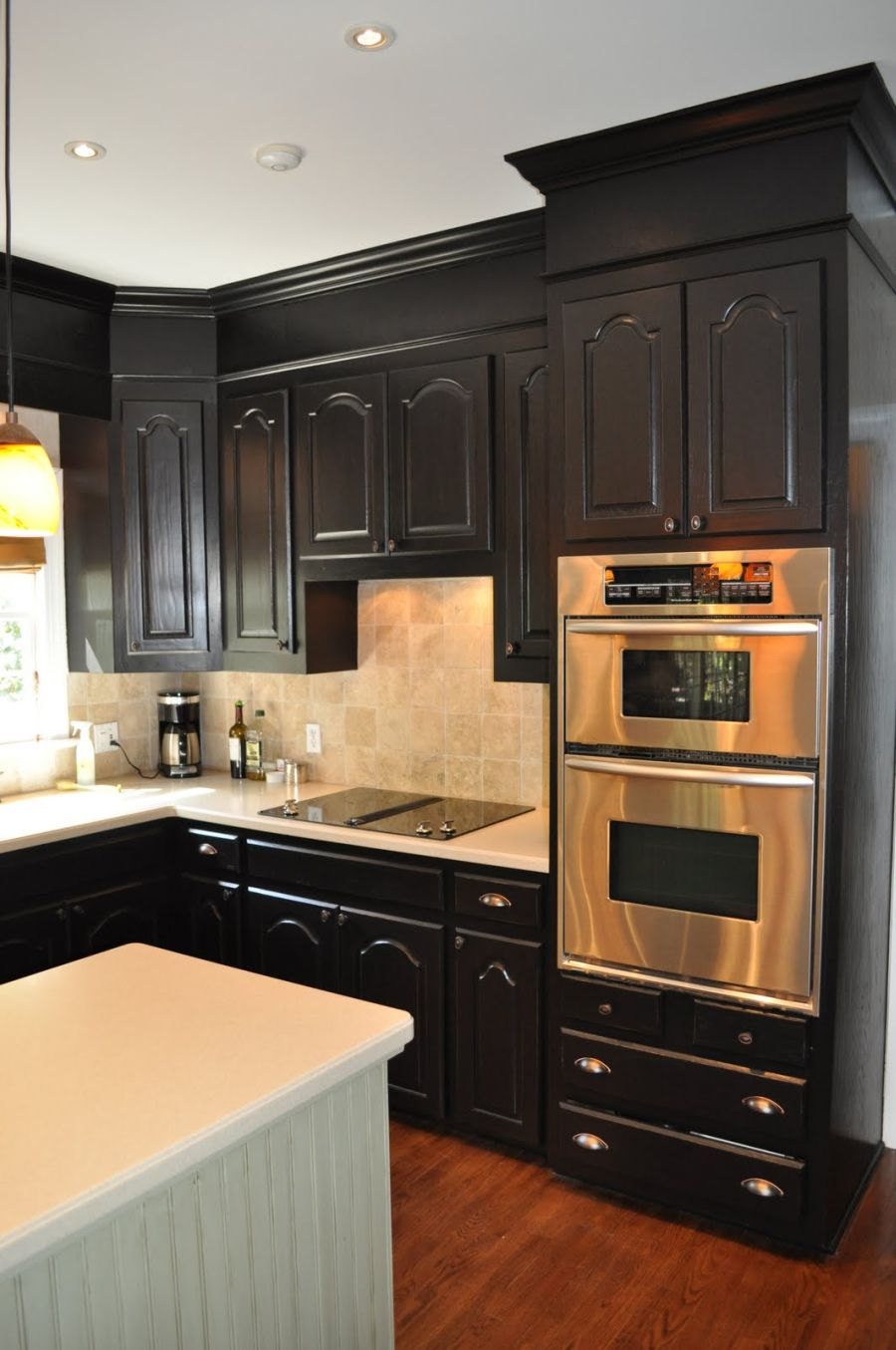 kitchen black cabinets cheap flooring one color fits most with soffits