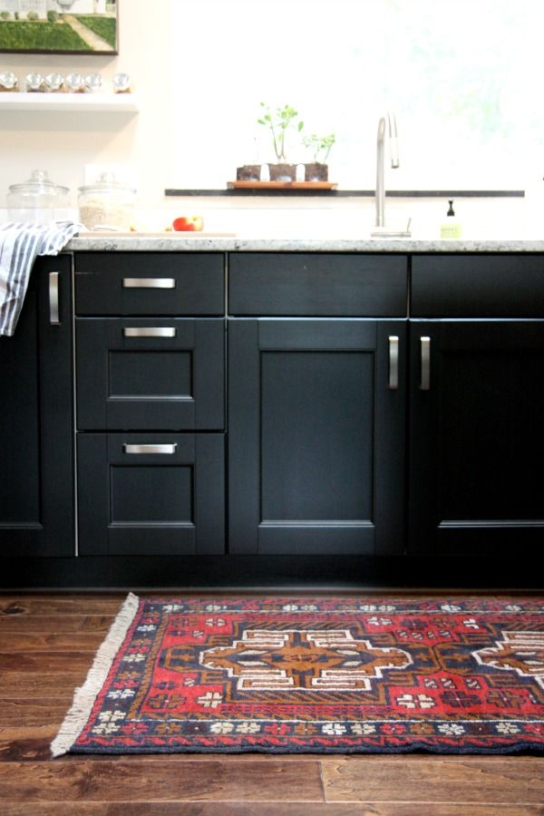 colorful kitchen cabinets moen chateau faucet repair one color fits most black with rug
