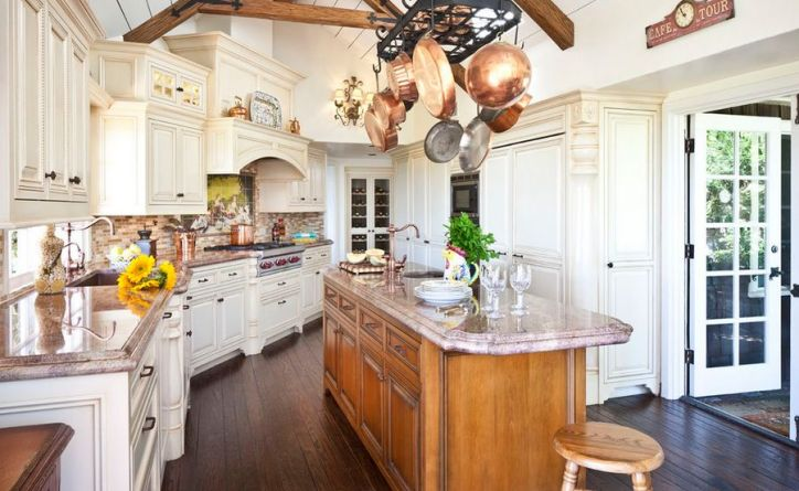 Kitchen Design Essentials Functional Copper Pot Display in French Rustic White Kitchen with Island