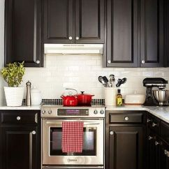 Kitchen Black Cabinets Hotels With Kitchens Near Me One Color Fits Most White And Hints Of Red