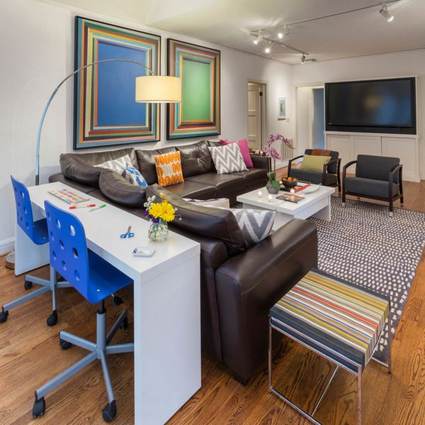 living room desk bright wall color ideas for narrow desks slim spaces and space savvy homes