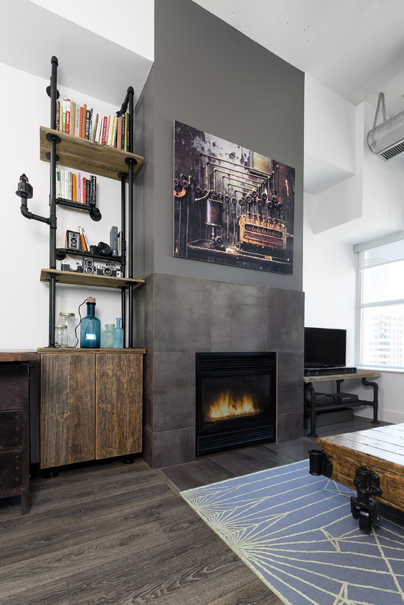 shelving for living room walls modern decorating images outdated toronto loft gets modernized with industrial touches