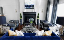 Navy Blue and Black Living Room