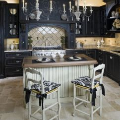 Kitchen Black Cabinets Countertop One Color Fits Most With White Island