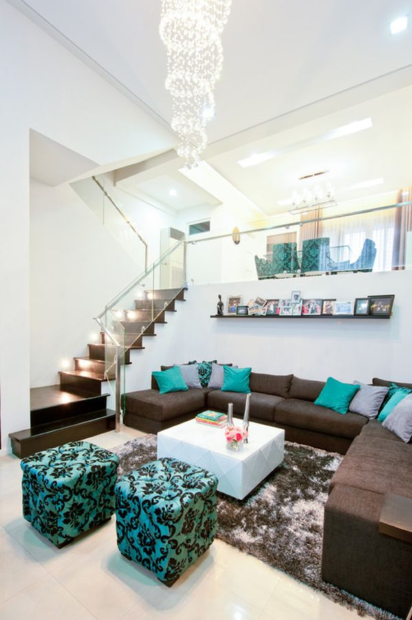 living rooms with brown couches room wallpaper feature wall ideas 10 of the best colors to pair 7 turquoise