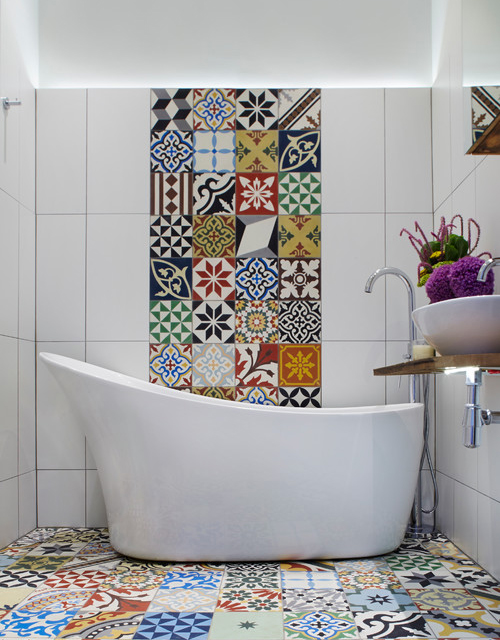 Bathroom tile patchwork design  Home Decorating Trends  Homedit