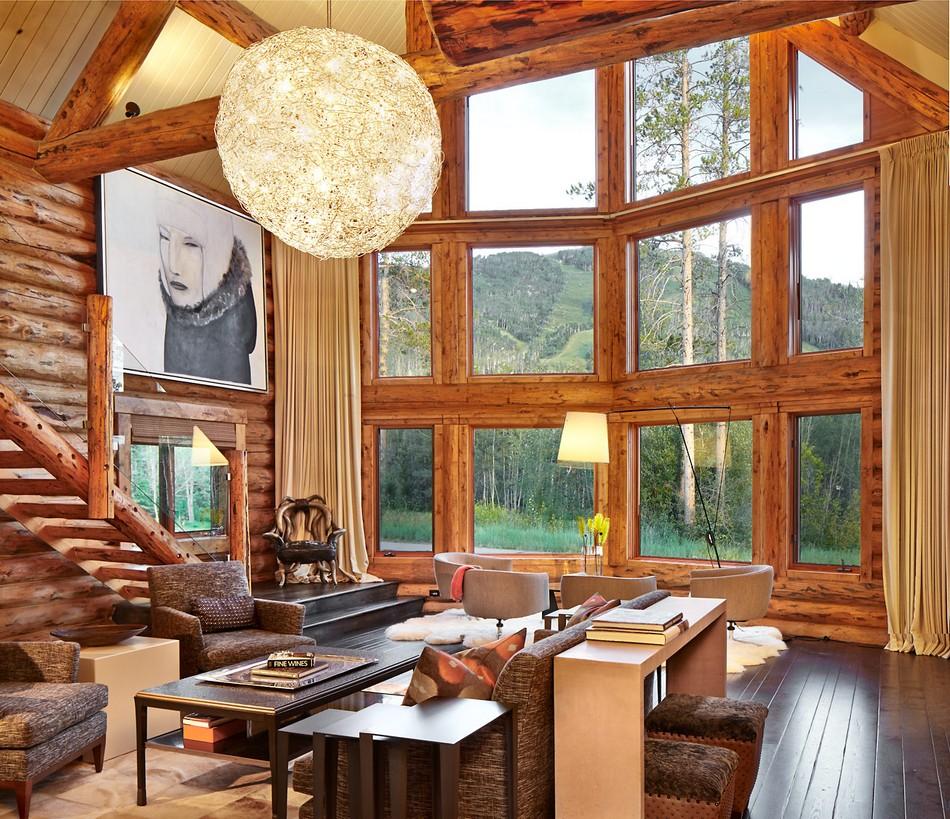 living room firewood holder flush mount lighting rustic log retreat blends modern accents and spectacular views