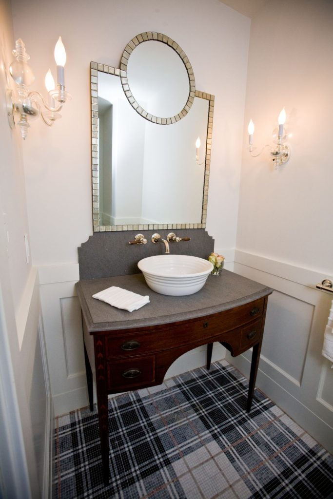 Powder room with mosaic floor tiles  Home Decorating
