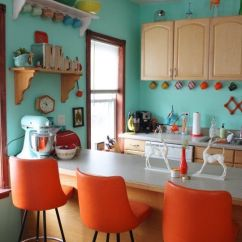 Orange Kitchen Chairs Island Colors That Make And Compliment Its Tones 3 Aqua Pairings
