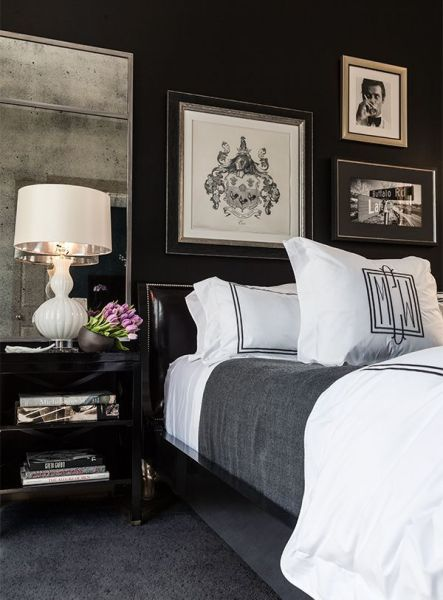 masculine bedrooms black bed 35 Timeless Black And White Bedrooms That Know How To