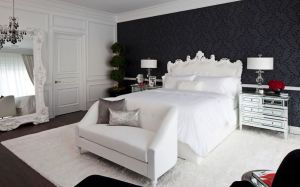 bedroom bed homedit bedrooms dark wall decor furniture behind headboard decorating accent master contrast