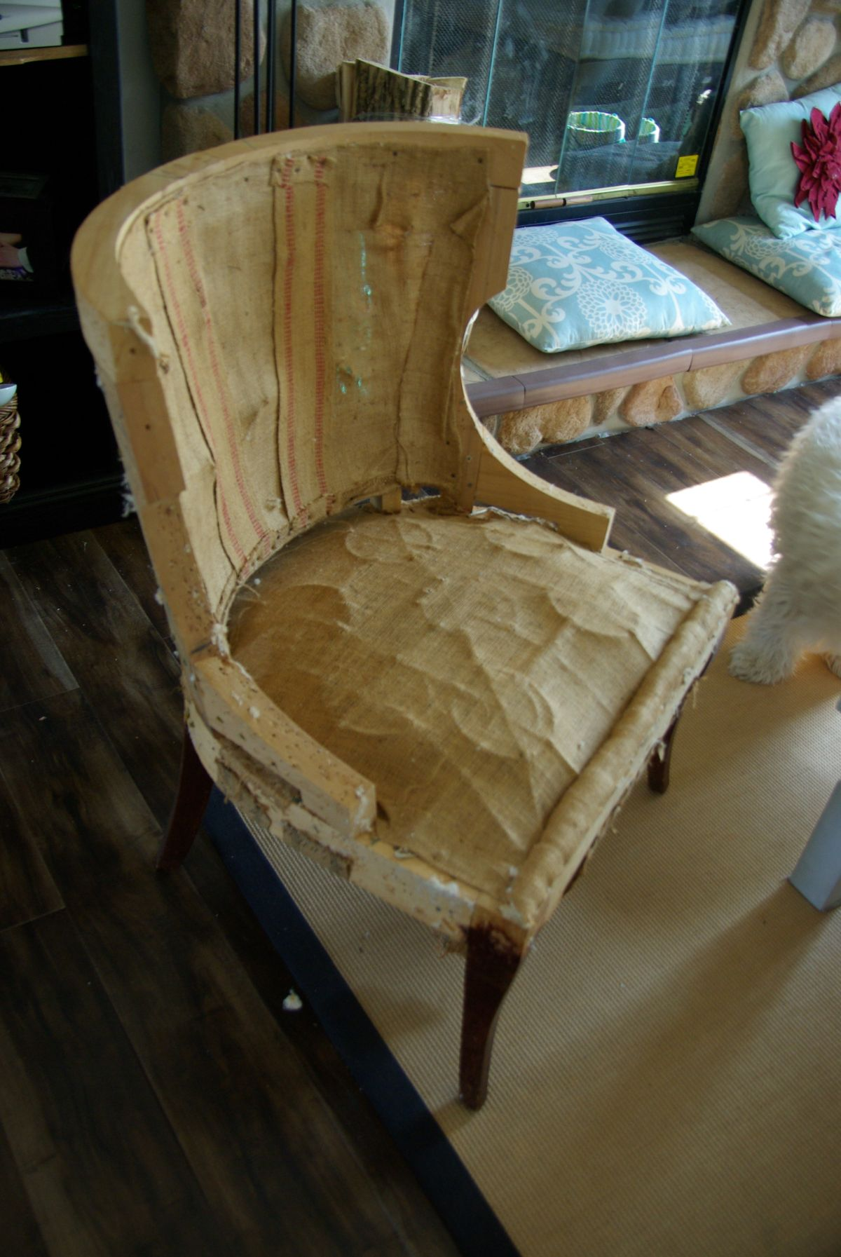 how to reupholster a chair cushion corner lycra cover hire perth ottoman no sew finest trim the corners with