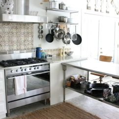 Steel Kitchen Table Black Pull Handles Cabinets Increased Functionality Stainless Work Tables
