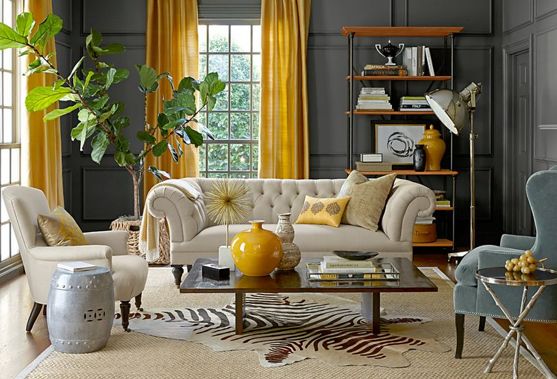 grey and yellow curtains for living room decorating brown leather furniture the way to brighten up a with