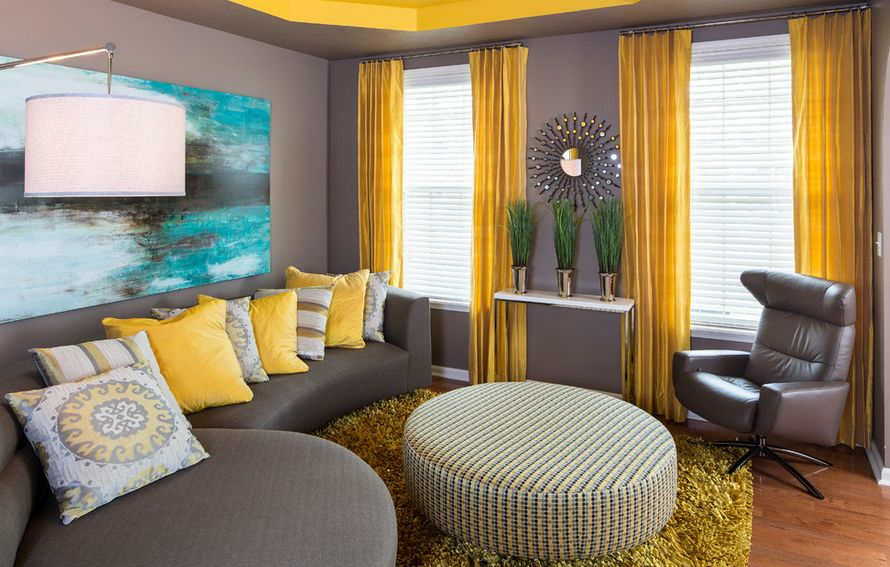 grey and yellow curtains for living room ideas brown sofa walls the way to brighten up a with view in gallery