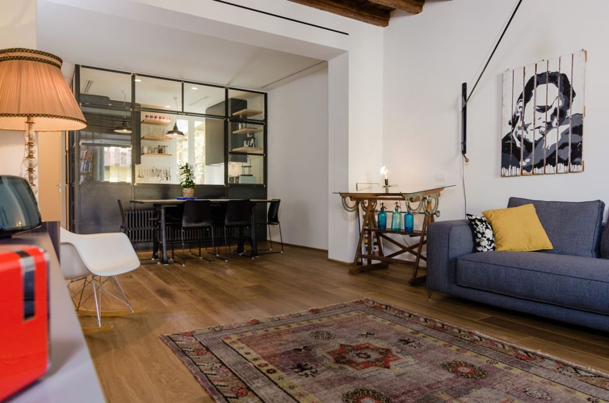 desk in living room apartment furniture layouts eclectic renovation brings back memories a milan navigly multifunctional