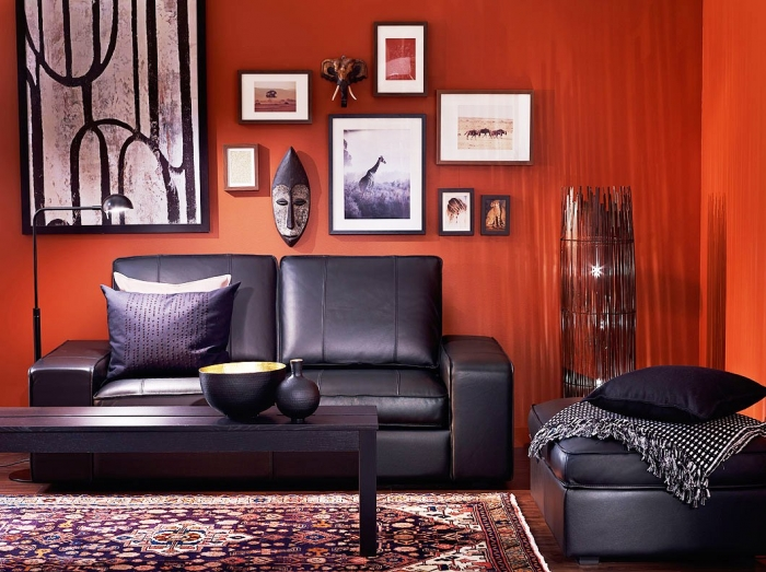 orange living room decorating ideas arrangement with tv 20 colors that jive well red rooms black and perfect masculine combo