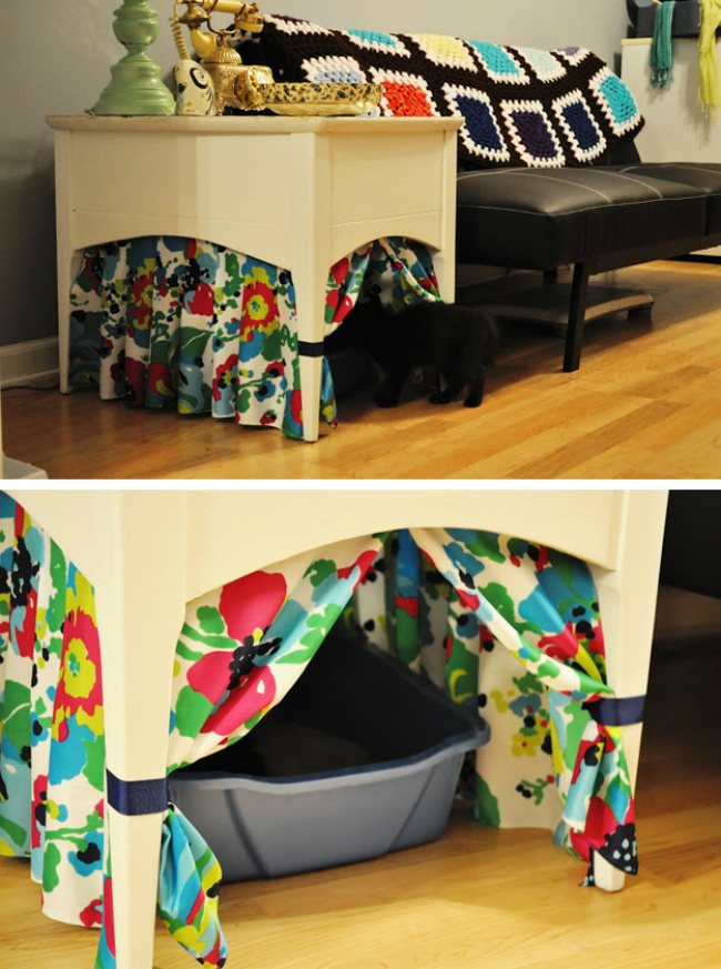 Curtained Litter Box