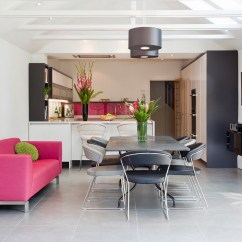 Sofa In The Kitchen Backless Sofas Are Called What Pink An Unexpected Touch Of Color Living Room