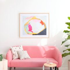 Pink Sofas Sofa Savers San Rafael Ca An Unexpected Touch Of Color In The Living Room And Polka Dot Rug