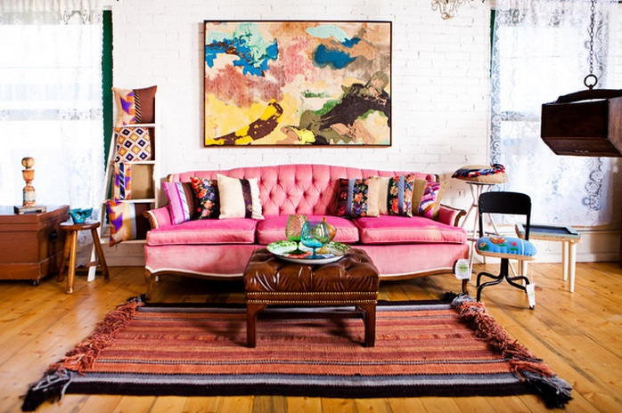 pink sofas ikea com rp sofa an unexpected touch of color in the living room colorful eclectic decor
