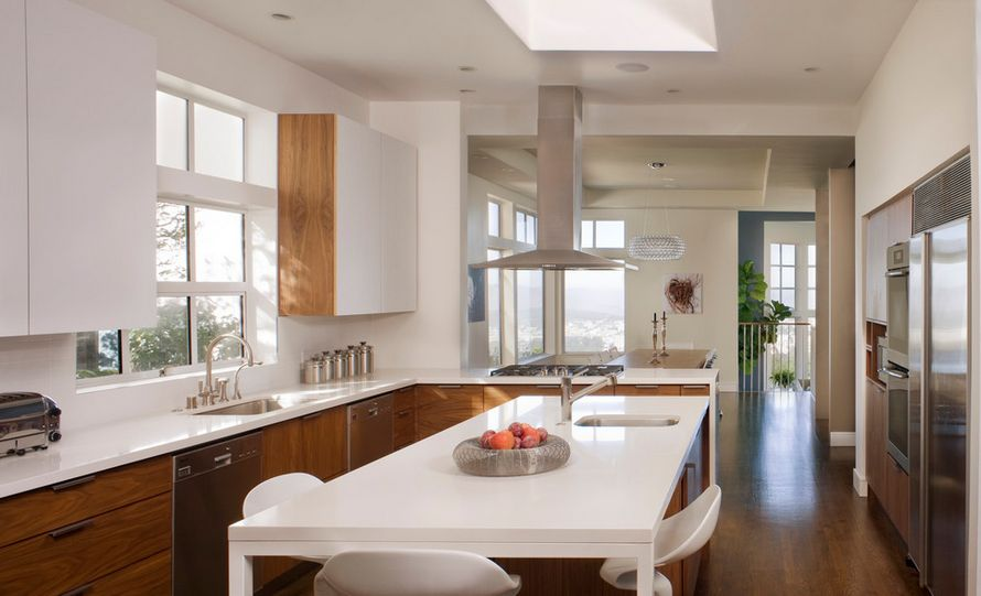 kitchen wood cabinets recessed lighting for 20 kitchens with stylish two tone contemporary