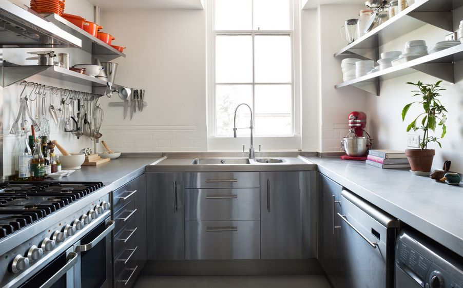 stainless kitchen table sets how to mix and match steel shelves with your style small narrow