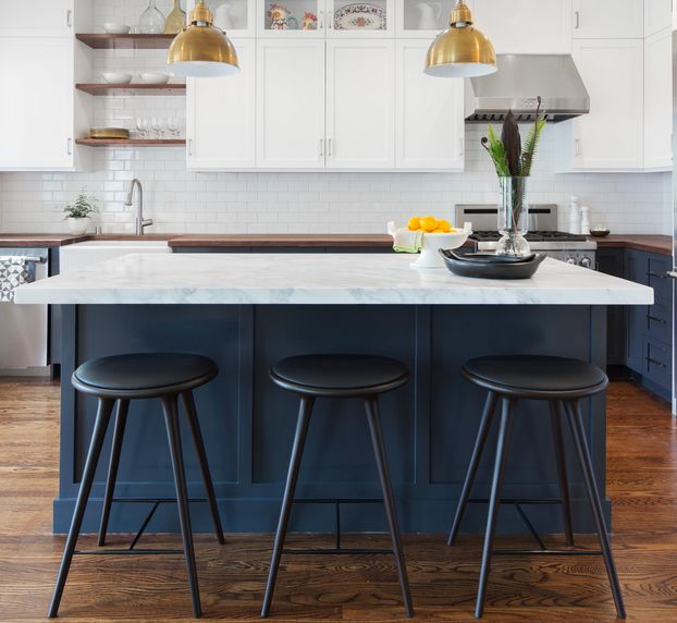 island stools for kitchen propane stove black and white bar how to choose use them blue cobalt with chairs