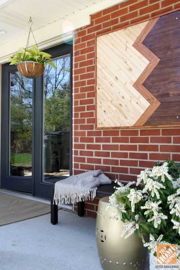 Outdoor Patio Among Dining Also Kitchen Completed With Artistic Perforated Wooden Panels For Wall Art Decor