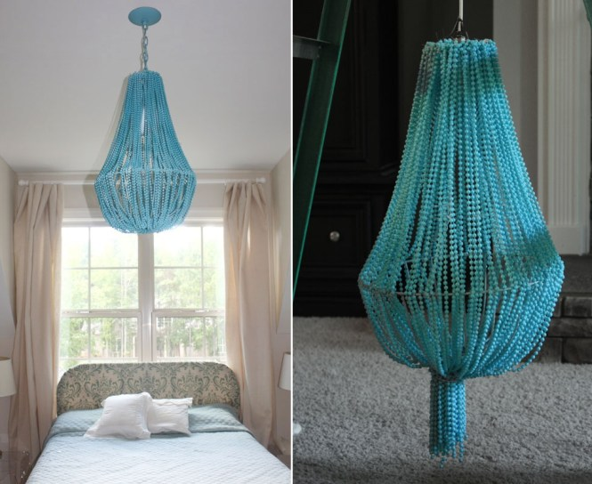 Turquoise Beaded Chandelier Above The Bed