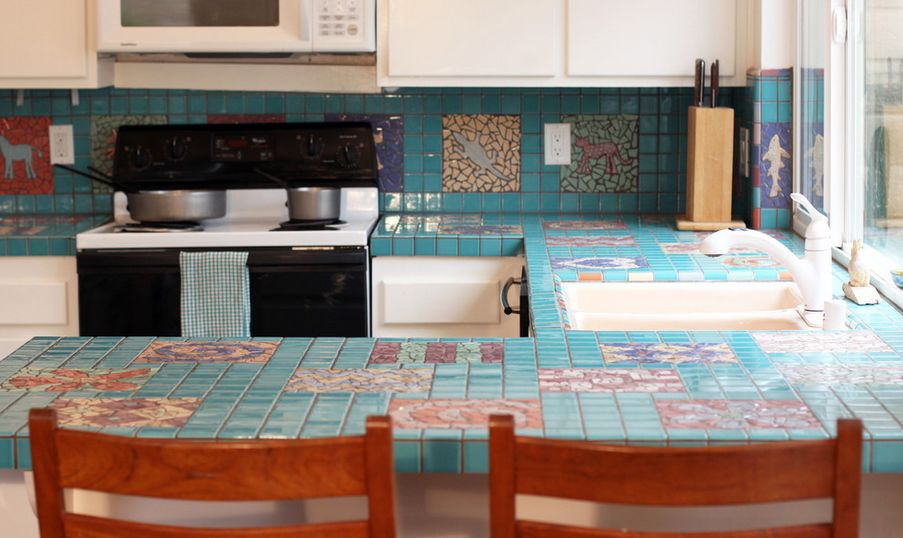 tile for kitchen countertops hanging baskets make a comeback know your options turquoise mosaic countertop tiles