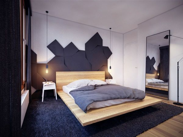 Floating Platform Bed with Headboard