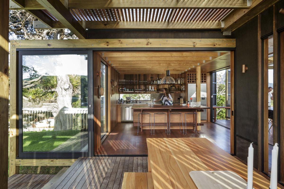 outdoor kitchen pavilion designs cutting gloves for summer house gets immersed in nature by its unique design