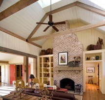 Vaulted Ceiling Living Room with Fireplace