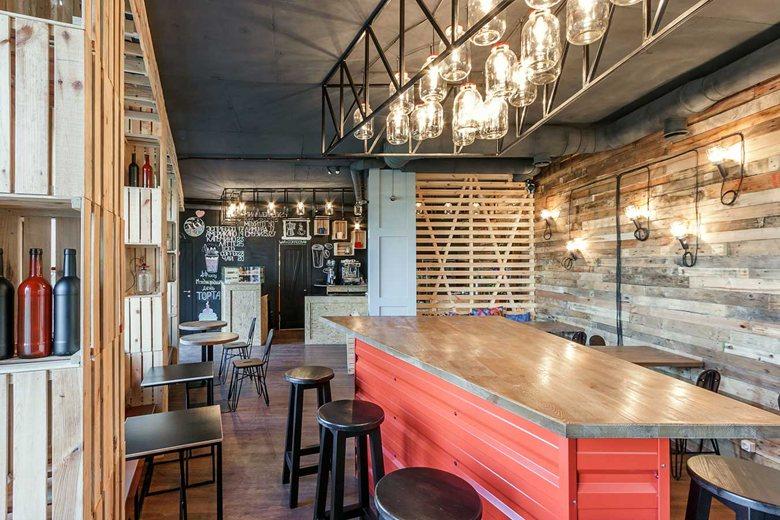 Penka coffee bar bar and chalkboard wall