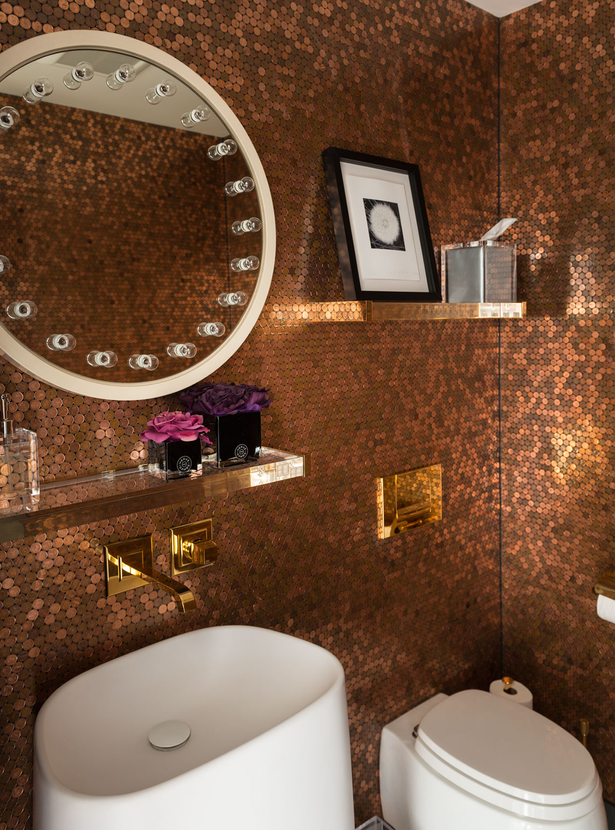Redpath residence bathroom penny walls