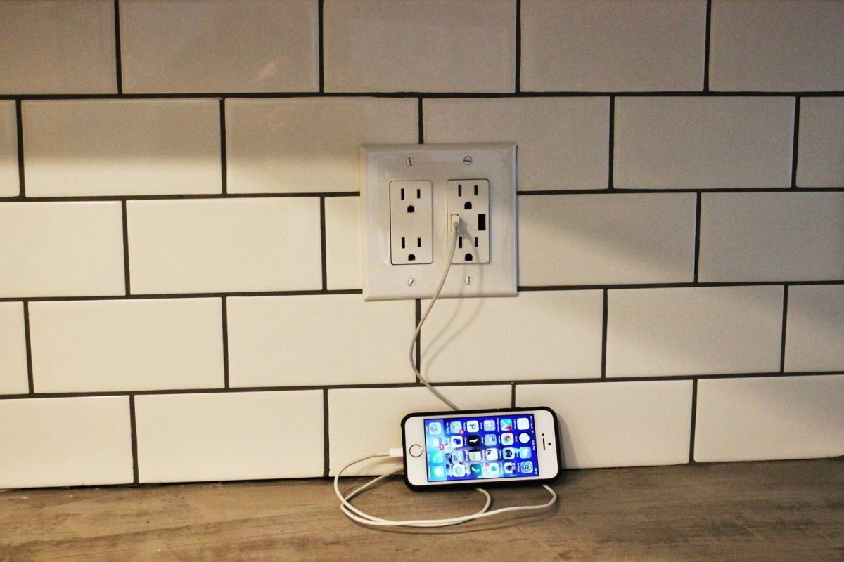 install kitchen backsplash price pfister treviso faucet how to a usb wall charger outlet