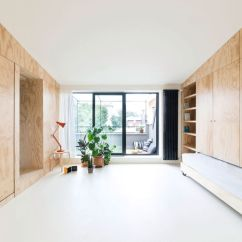 Living Room Space Green And Brown Rugs Small Flat Takes Advantage Of Reduced In A Big Way Batipiin By Studiowok Minimal With Balcony