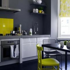 Colorful Kitchen Cabinets Wall Decor For 20 Awesome Color Schemes A Modern Yellow White Charcoal