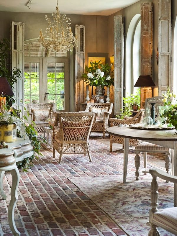 french country decorating ideas for living rooms light grey sofa room charming brick flooring decor