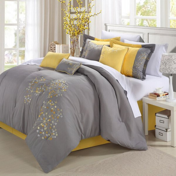 Yellow And Gray Bedding Make Bedroom Pop