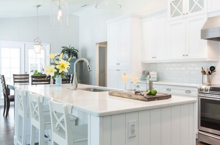 white kitchen countertops banquettes for sale 20 quartz inspire your renovation coastal inspired