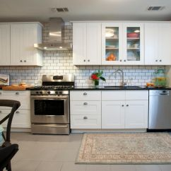 White Tile Backsplash Kitchen Custom Cabinet Dress Your In Style With Some Subway Tiles