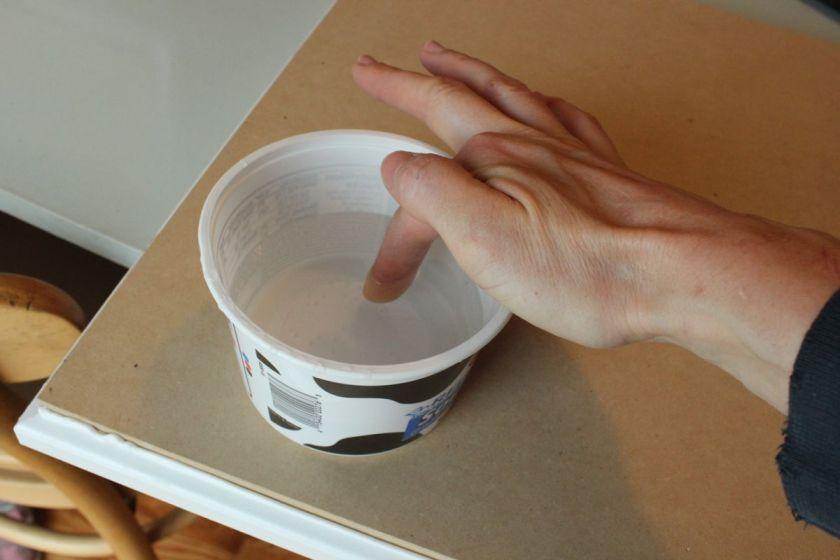 DIY Upgrade Bathroom Vanity- dip your finger in water